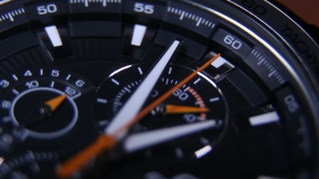 Chrono Watch Chronograph tactical watch in operation wristwatch stock videos & royalty-free footage