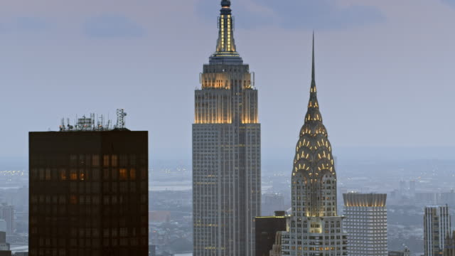 aerial chrysler building and the empire state building at dusk - new york stock videos & royalty-free footage