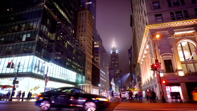 Chrysler building in fog. 42nd street 5th avenue video