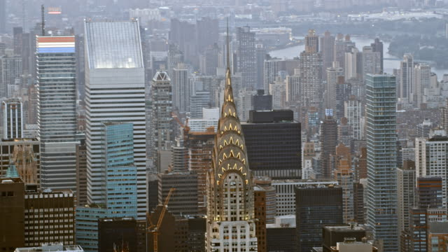 AERIAL FAST-MO Chrysler Building in NYC