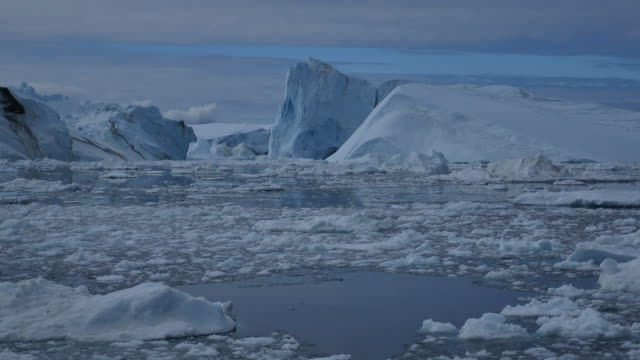 Chunks of ice flowing in front ab iceberg with calving video