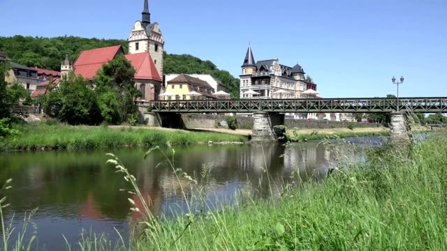 Church by the river in a small German town Gera video