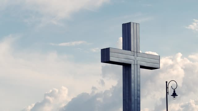 Church Cross Religious Cross on cloudy sky church architecture stock videos & royalty-free footage
