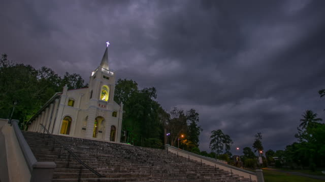 Church Day to Night time lapse video