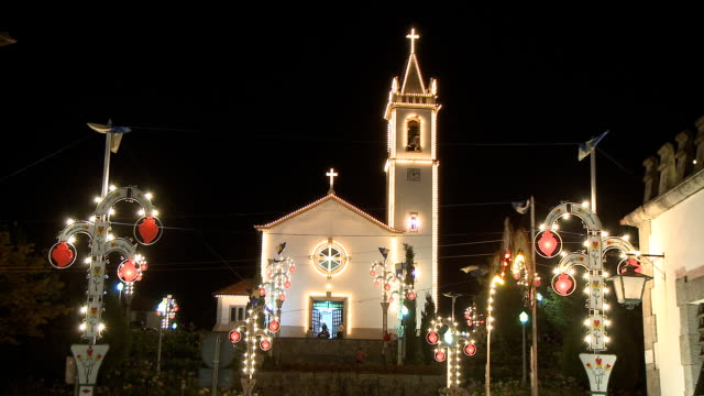 Church decorated with Christmas lamps video