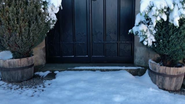 Church entrance with old door establishing shot video