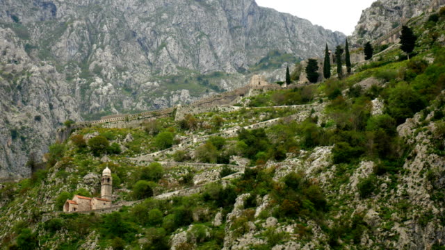 Church Gospa od Zdravlja of Kotor on the wall, Montenegro, Kotor video