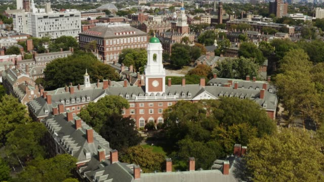 Church in Harvard university in Cambridge Aerial view of Harvard university in Cambridge, famous destination of Massachusetts, city of students, travel to Northeast of USA, beautiful parks and nature campus stock videos & royalty-free footage