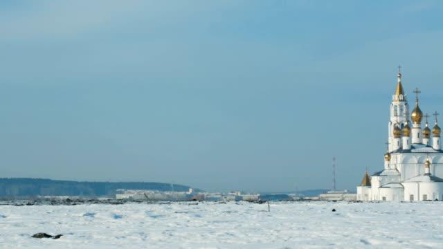 Church in winter landscape video