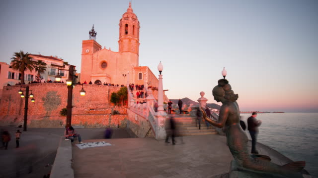 church of sant bartomeu and santa tecla sunset monument 4k time lapse sitges video