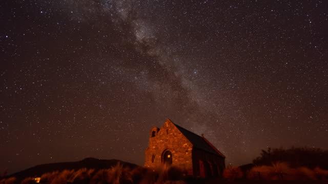 Church of Shepherd with Night Sky, Milky Way Time Lapse