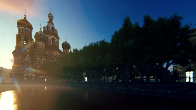 Church of the Saviour on Spilled Blood against sunrise, St. Petersburg, Russia, camera flight Church of the Saviour on Spilled Blood against sunrise, St. Petersburg, Russia, camera flight royalty stock videos & royalty-free footage