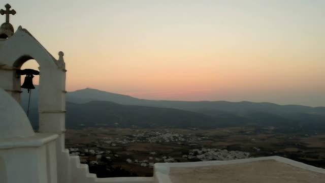 Church Saint Antony in Greece at Paros island. Church Saint Antony in Greece at Paros island against the sunset. aegean islands stock videos & royalty-free footage