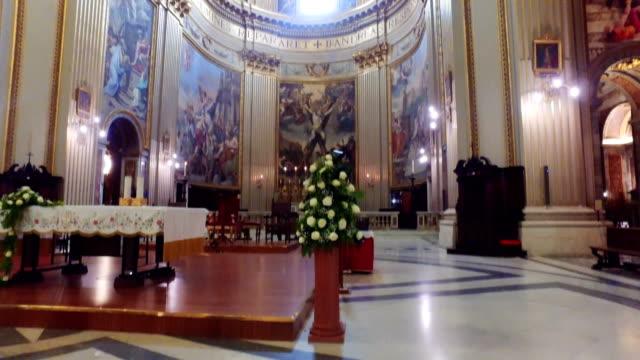 Church Sant Andrea della Valle interior dome, Piazza Vidoni, built in Baroque style, 1608 AD. Rome, Italy