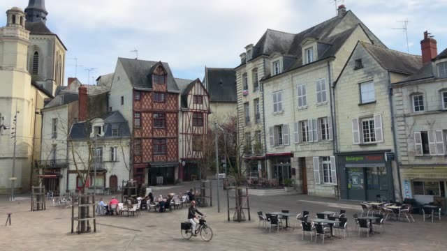 church square in saumur, loire valley, france - french architecture stock videos & royalty-free footage