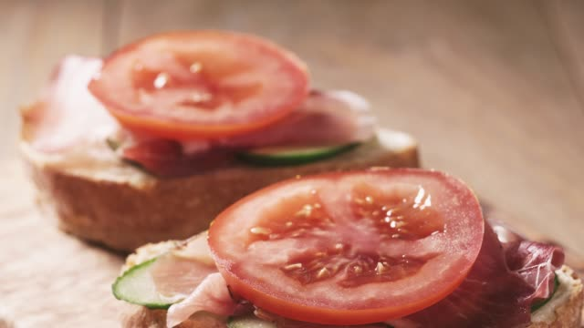ciabatta open sandwiches with speck and vegetables video