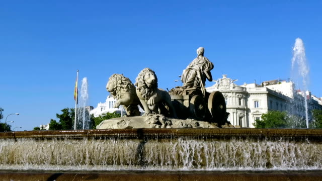 cibeles fountain in madrid - neoclassical architecture stock videos & royalty-free footage