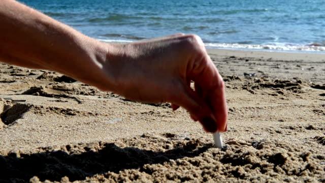 cigarette butt on beach - djurkroppsdel bildbanksvideor och videomaterial från bakom kulisserna