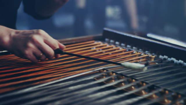 Cimbalom string music instrument. String music instrument video