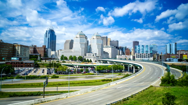 Cincinnati Highway time lapse with clouds and skyline 4k 1080p