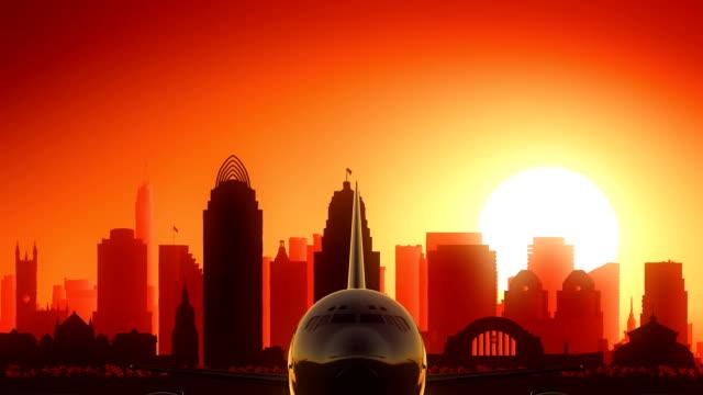 Cincinnati Ohio USA America Skyline Sunrise Take Off video