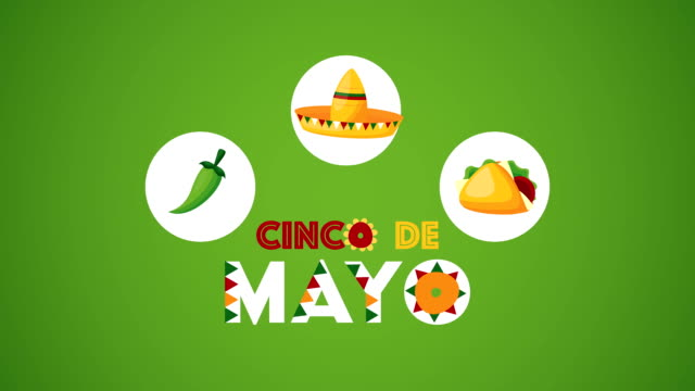 cinco de mayo celebration mexican with taco and hat video