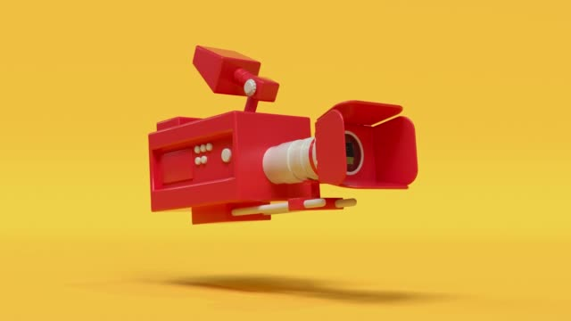 cinema camera red yellow cartoon style minimal 3d rendering cinema theater concept