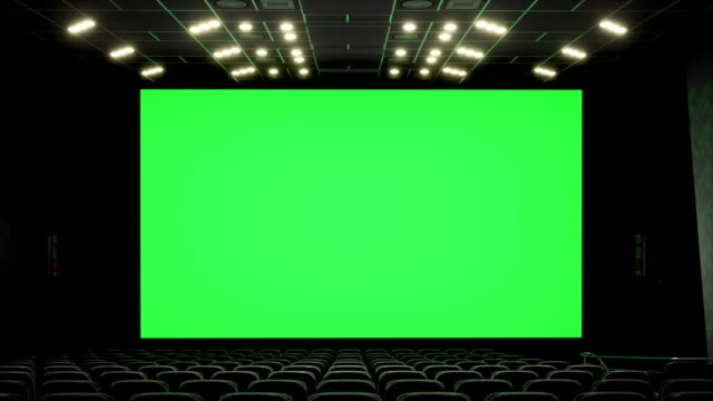 Cinema Interior Of Movie Theatre With Blank Movie Theater Screen With Green Screen And Empty Seats Movie Entertainment Concept Stock Video Download Video Clip Now Istock