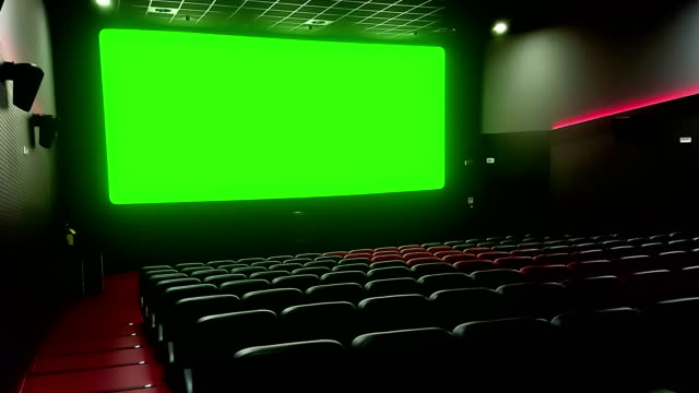 Cinema Interior Of Movie Theatre With Empty Red Seats With Copyspace On The Chroma Key Green Screen And Glow On Edge Concept Of Recreation Stock Video Download Video Clip Now Istock