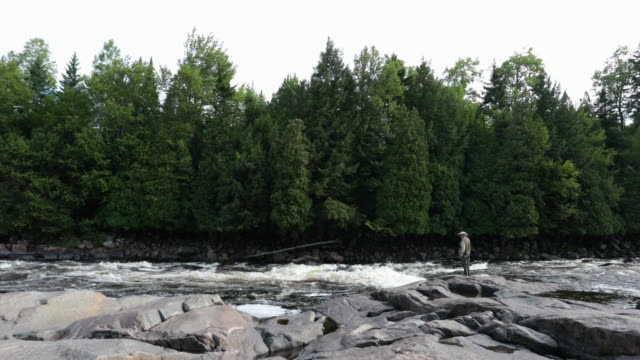 Cinemagraph of Fisherman Fly Fishing in River video