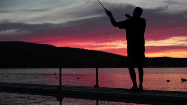 Cinemagraph of Man Fisherman at Sunset video