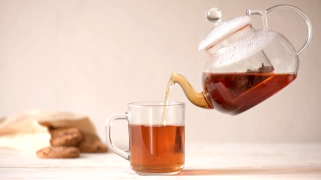 Cinemagraph - Pouring hot tea from the teapot in the cup. Nobody.