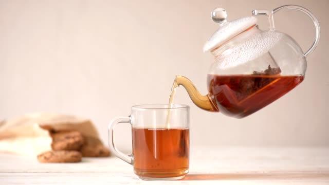 vidéos et rushes de cinemagraph - coulage de thé de la théière dans la coupe. personne ne. - thé boisson chaude