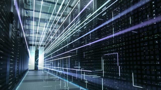 fradgande begreppet: aktivering av datacenter. animerade digitalisering av information, sammankopplade nät av energilinjer flyga genom rackservrar. - server room bildbanksvideor och videomaterial från bakom kulisserna