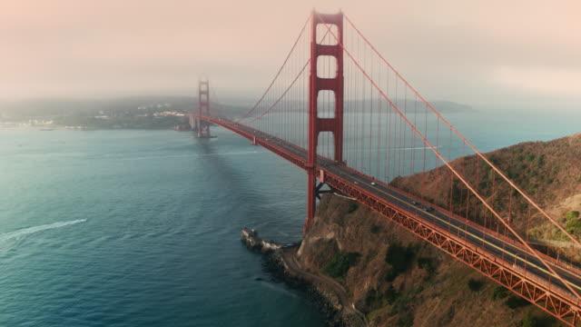 Cinematic Aerial of Golden Gate Bridge in San Francisco