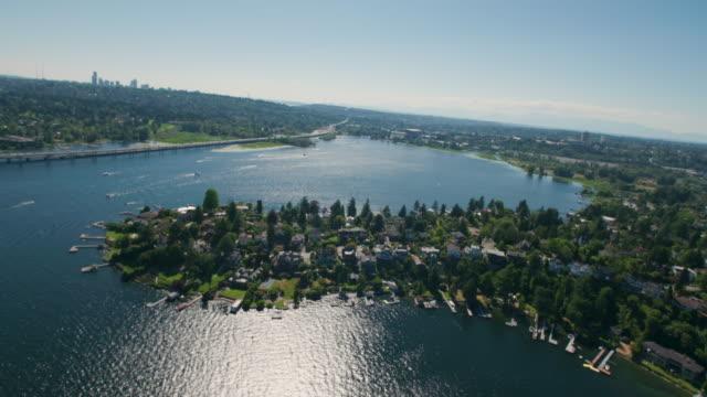 Cinematic Aerial Shot of Seattle Lake Waterfront Peninsula
