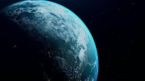 vista cinematografica della terra blu dallo spazio - copy space video stock e b–roll