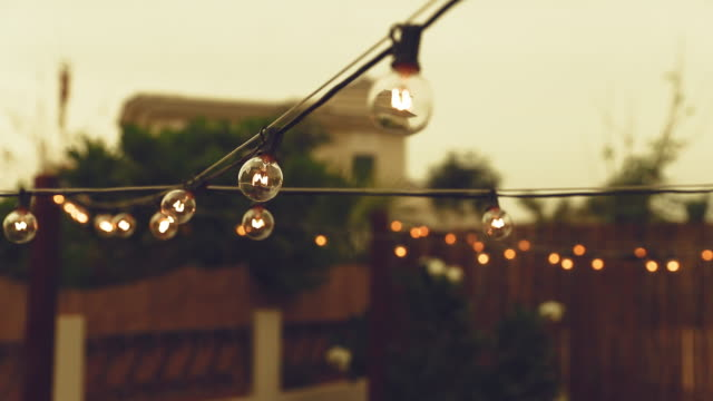 Cinematic B-Roll from a Patio showcasing illuminated String Lights