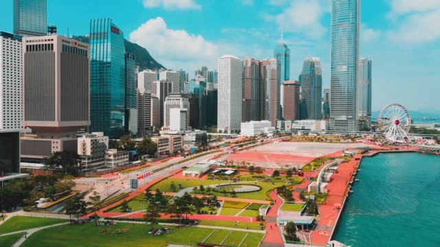 cinematic color graded aerial view fhd footage of hong kong city - центральный район стоковые видео и кадры b-roll