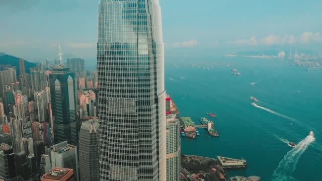 cinematic color graded aerial view fhd footage of hong kong city - hong kong video stock e b–roll
