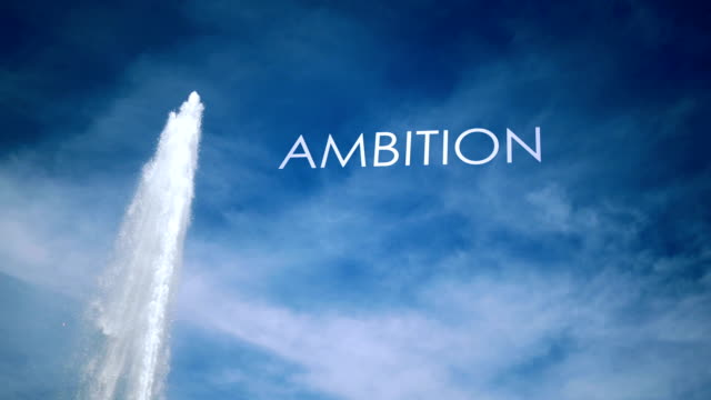 Cinematic Geyser with metaphor text against blue sky - Ambition video