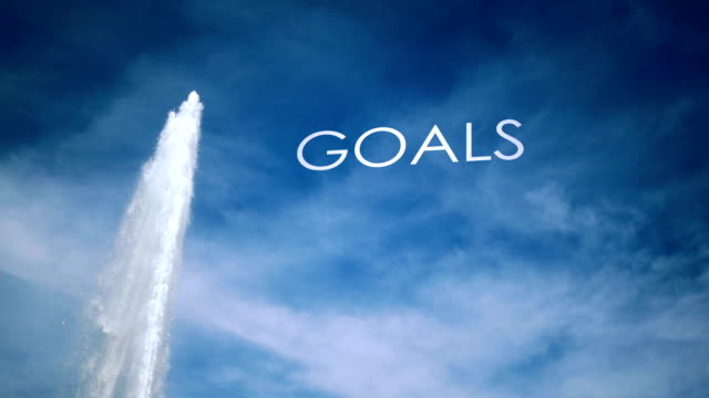 Cinematic Geyser with metaphor text against blue sky - Goals video