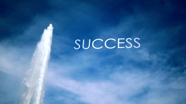 Cinematic Geyser with metaphor text against blue sky - Success video