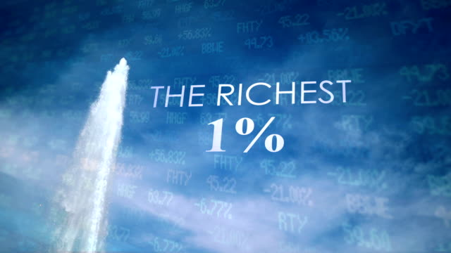 Cinematic Geyser with metaphor text against blue sky - The Richest 1% video