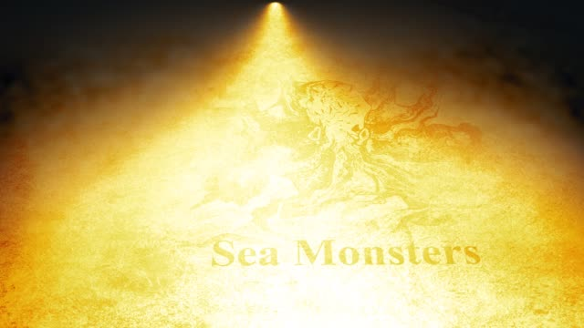 Cinematic Map Animation über altes Pergament - Sea Monsters Version – Video