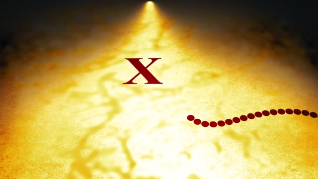Cinematic Map Animation over old parchment - X Marks The Spot with Dotted Line Version - vídeo