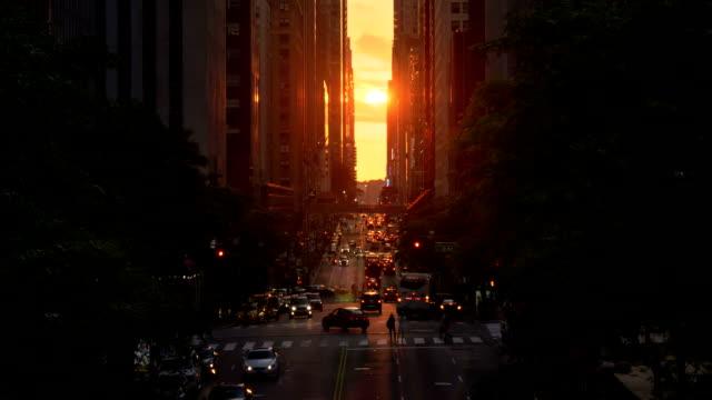 Cinematic New York City Manhattanhenge Sunset Effect Long Shot video