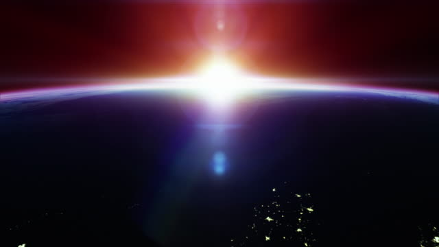 Cinematic nice sunrise on earth from space - with city lights 4k video