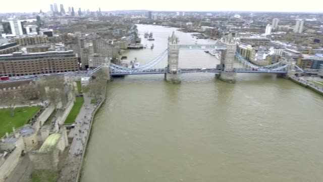 4K Cinematic Panoramic Aerial View Tower Bridge and Tower of London video