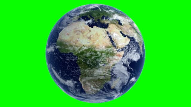 vídeos de stock e filmes b-roll de cinematic realistic rotating earth cloud green color - green world